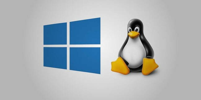 Microsoft Windows and 'Tux' Linux logos next to each