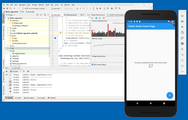Flutter development in Android Studio