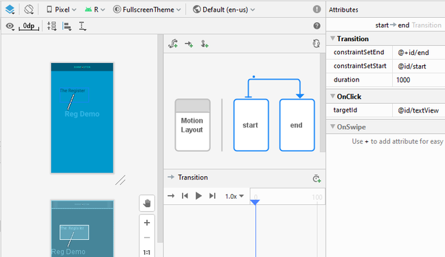 The Motion Editor in Android Studio 4.0