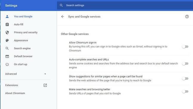 Off by default: Google services in ungoogled-chromium