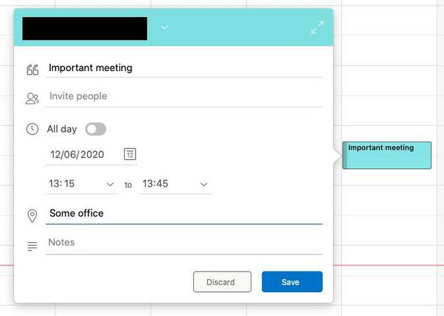 Creating a meeting in the new Outlook Mac: just drag in the calendar and this simple dialog pops up