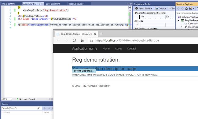 Editing a web page at runtime