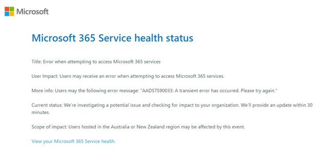 Office 365 outage notification