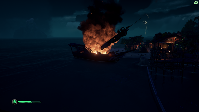 Found an unattended ship... It caught fire... No idea how...