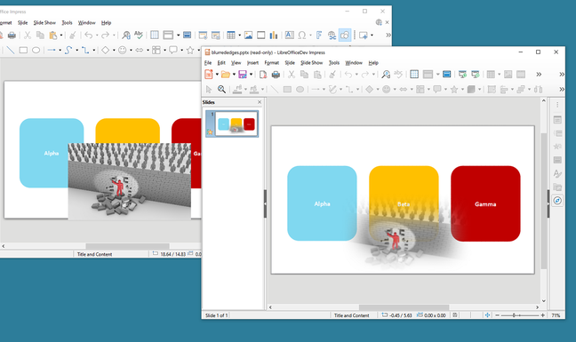 The addition of soft edges support fixes some cases where a PowerPoint graphic looked completely wrong in LibreOffice.
