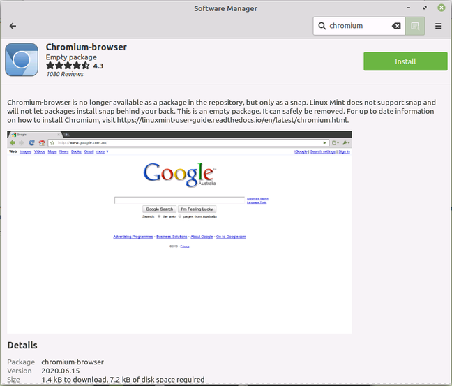 Attempting to install Chromium: blocked by default, but with a message on how to install it if you can accept Snap.