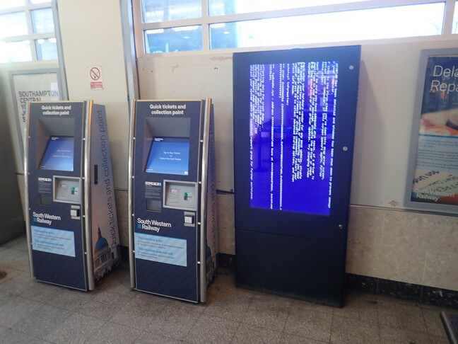 Southampton ticket machine BSOD