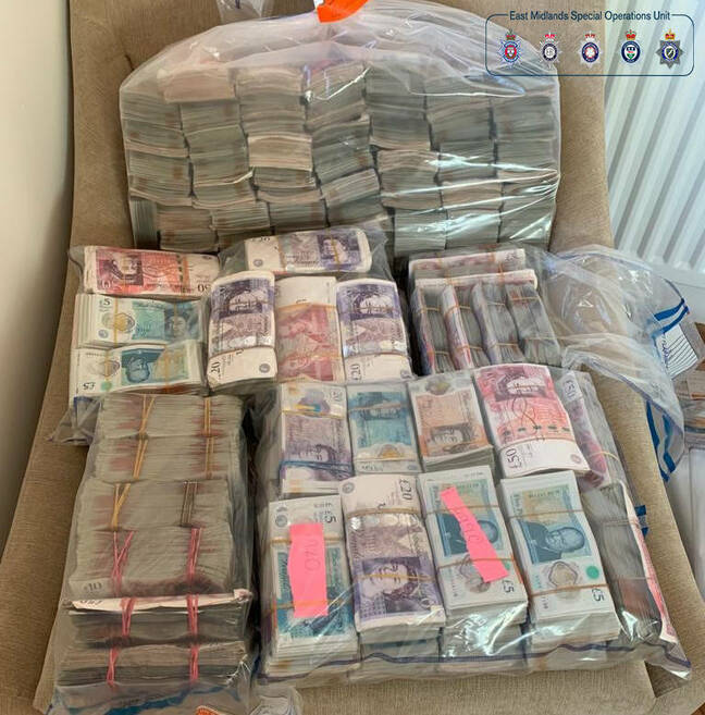This is what £1.4m looks like... as hauled in by the East Midlands Special Operations Unit. Pic credit: National Crime Agency