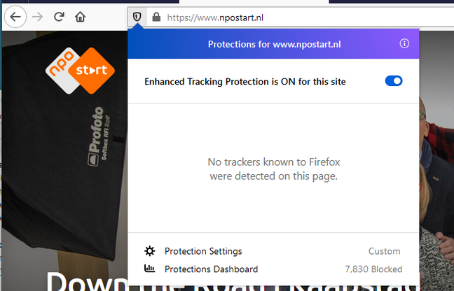NPO's site gets a clean bill of health from Firefox tracking protection.