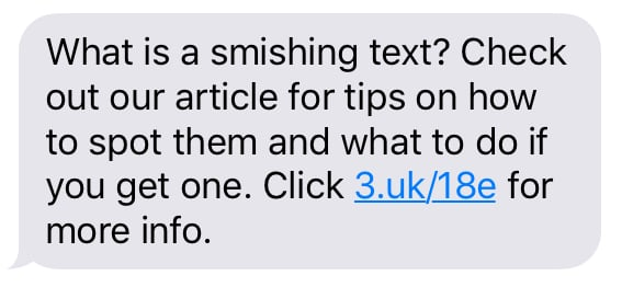Unsolicited Three Uk sms