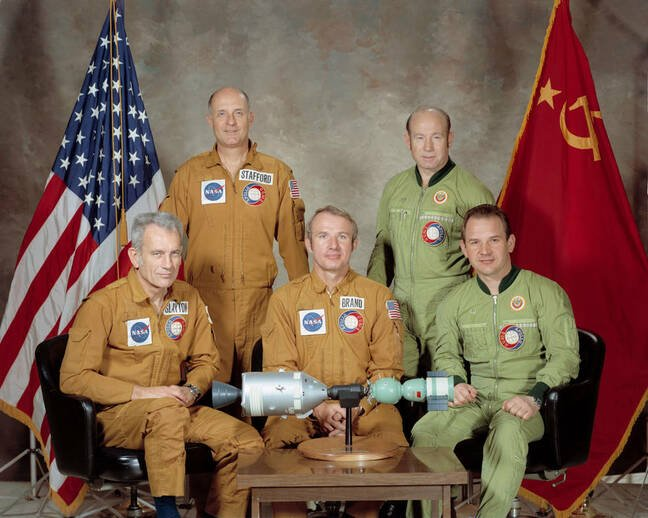 Official ASTP crew portrait (front, left to right) Slayton, Brand, and Kubasov; (back, left to right) Stafford and Leonov