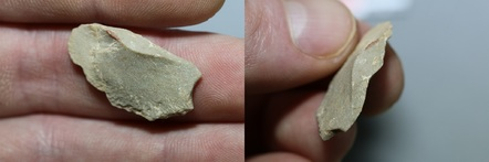 Stone tool found above the Last Glacial Maximum (LGM) layer, within Stratigraphic Component B. This particular piece was made from a greenish crystallized limestone. Credit: Ciprian Ardelean.