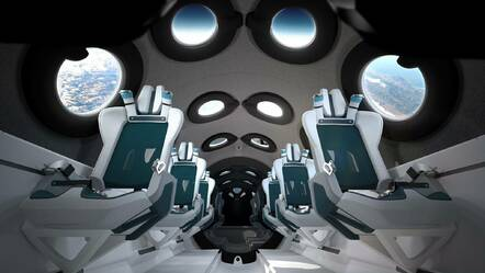 L'intérieur du SpaceShipTwo de Virgin Galactic.  Source : Virgin Galactic
