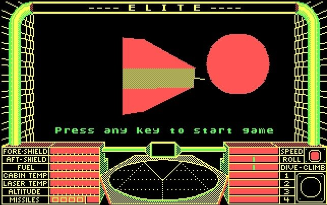 Opening screen of Elite (1984)