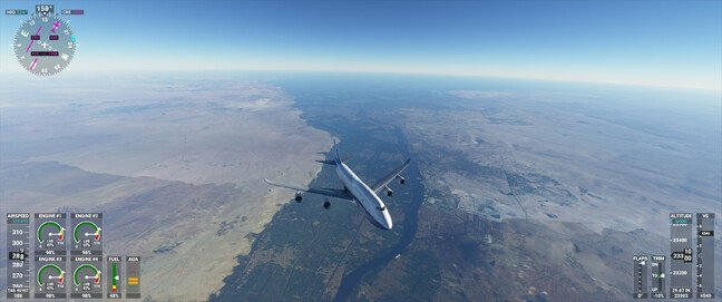 A Boeing 747 flying over the Nile Delta at about 28,000ft