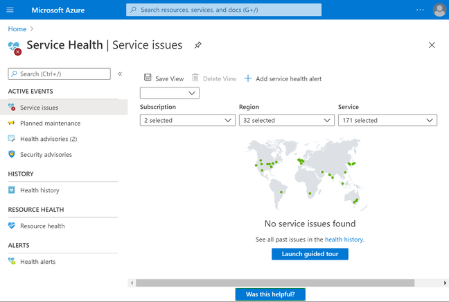 Microsoft says Service Health in the Azure portal is the place to look for outage information – presuming that the portal itself is not borked