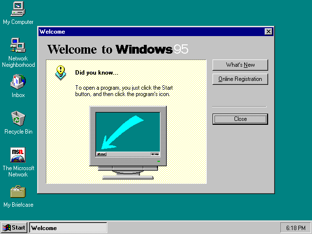Screenshot of Microsoft Windows 95