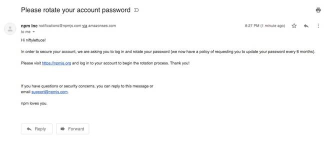 Sample spoofed domain phishing message