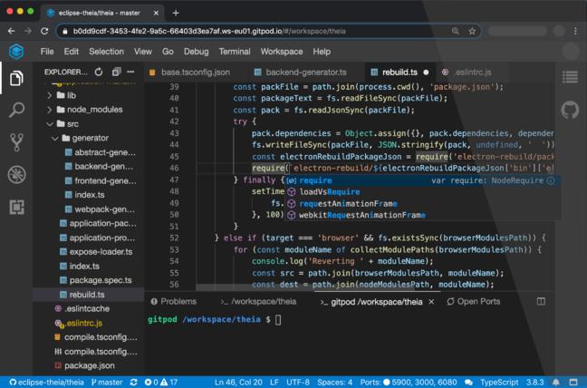 Theia running in front of a GitPod cloud development environment