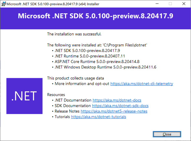 The .NET 5.0 SDK comes with the new desktop runtime and ASP.NET Core 5.0, as well as C# 9 and F# 5. And of course telemetry which is on by default