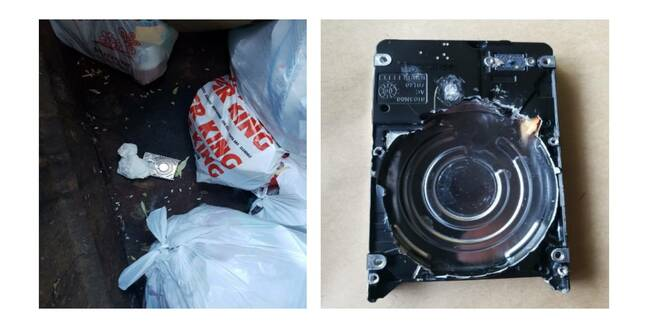 The destroyed hard drive found in a dumpster