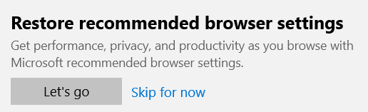 Windows 10 recommended browser settings