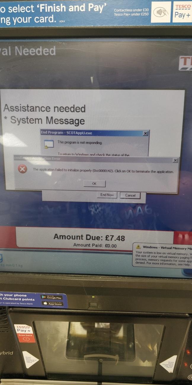 Tesco self-service terminal in distress