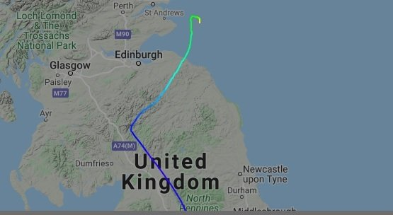 G-JOTR, a BAe 146, appeared to have landed in the North Sea earlier this week. Pic: Flight Radar 24