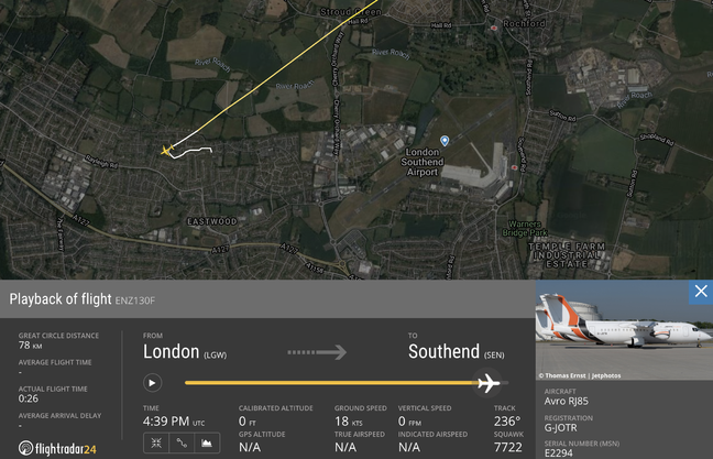 G-JOTR did not actually crash into a residential street near Southend Airport: its INS had drifted