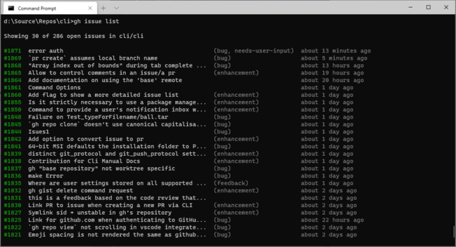 Using GitHub CLI to list project issues