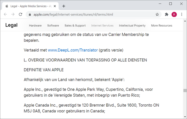 Apple's Dutch legalese translated with www.DeepL.com/Translator