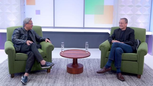 Nvidia CEO Jensen Huang and VMware boss Pat Gelsinger at VMworld