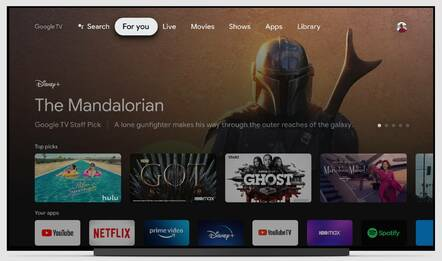 Google TV interface, 2020