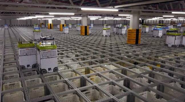 Photo of Ocado robots from AutoStore's lawsuit against Ocado