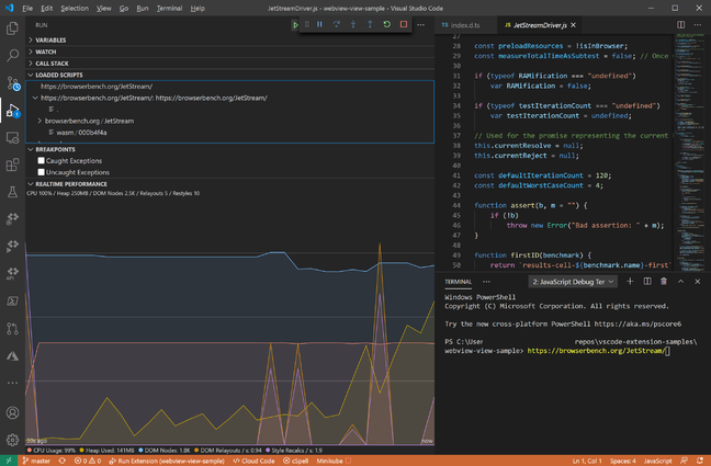 The enhanced VS Code Realtime Performance chart goes nuts trying to monitor the JetStream 2 browser torture test