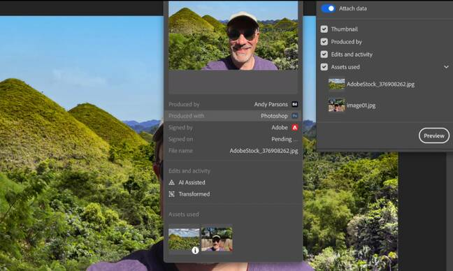 The new attribution tool in Photoshop lets designers add tamper-proof metadata showing image history, including thumbnails.