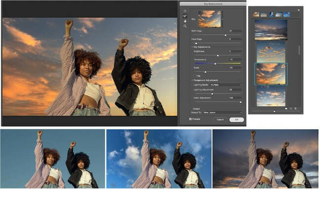 AI-driven Sky Replacement is a new Photoshop feature.
