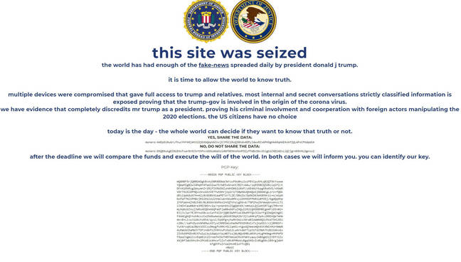 Screenshot of the defaced DonaldJTrump dotcom website