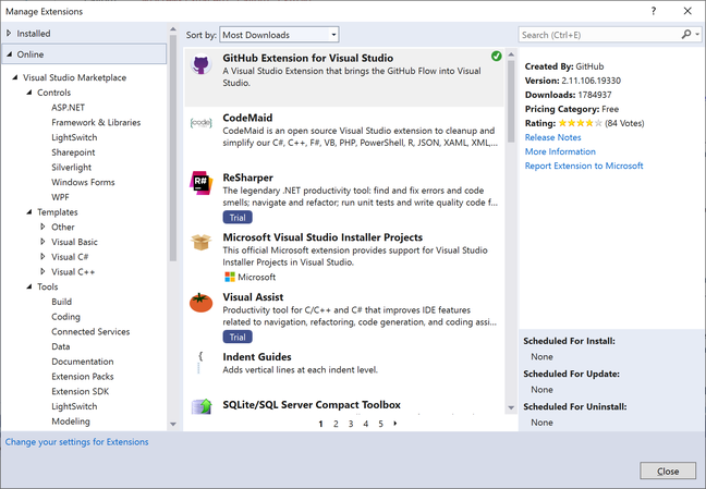Visual Studio extensions cover every aspect of software development and are installed from a Microsoft-hosted repository
