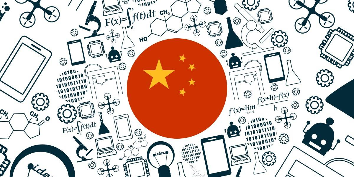 A circled flag of the People's Republic of China (PRC) is surrounded by tech-related doodles.