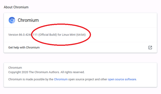 """Official build for Linux Mint"""" says the new Chromium build"""