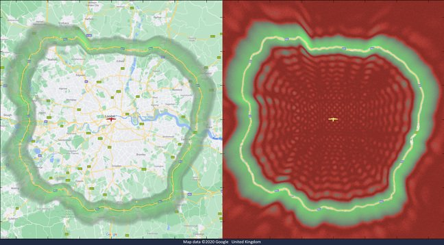 Cambridge Consultants' graphic showing its 5G drone antenna's coverage overlaid on the M25 London Orbital motorway