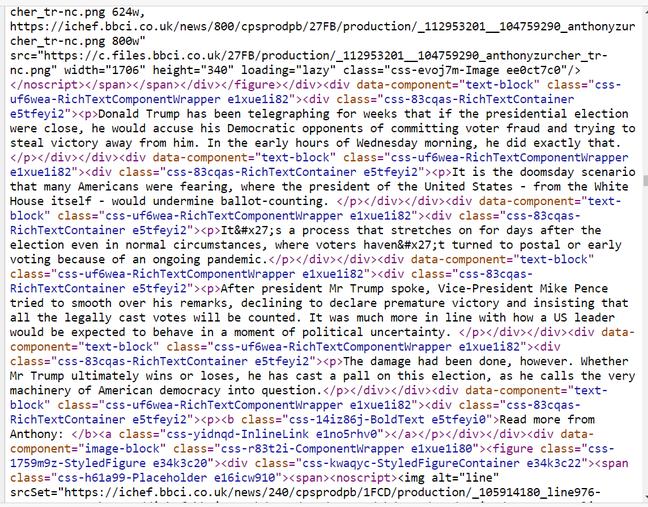 BBC website HTML