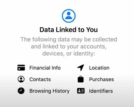 Screenshot of Apple privacy label for an app