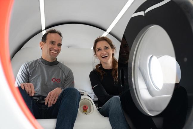 First Virgin Hyperloop passengers Josh Giegel and Sara Luchian