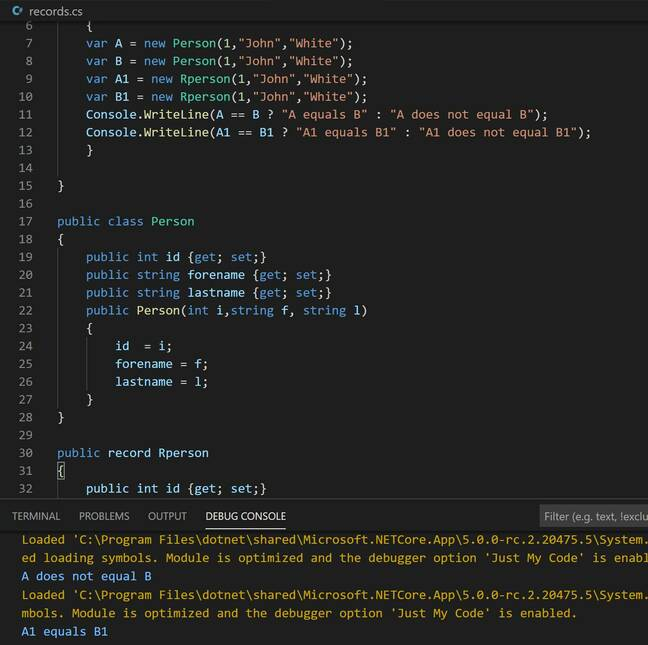 Records in C# 9.0 are considered equal if they are the same type and have identical properties