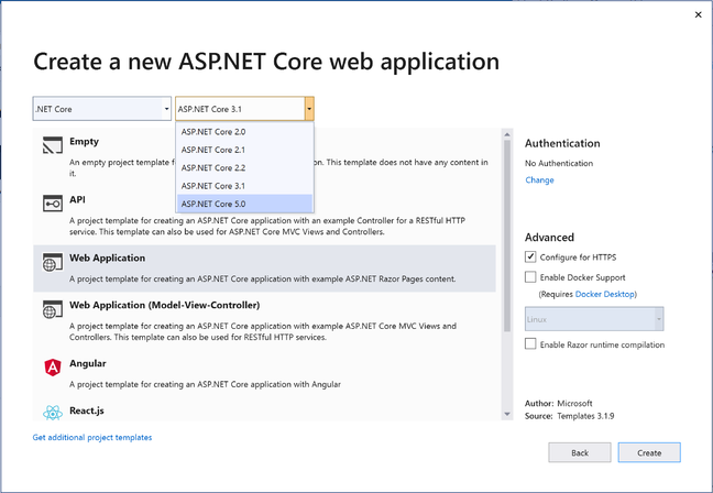 The latest Visual Studio offers a range of choices for ASP.NET Core 5.0 applications