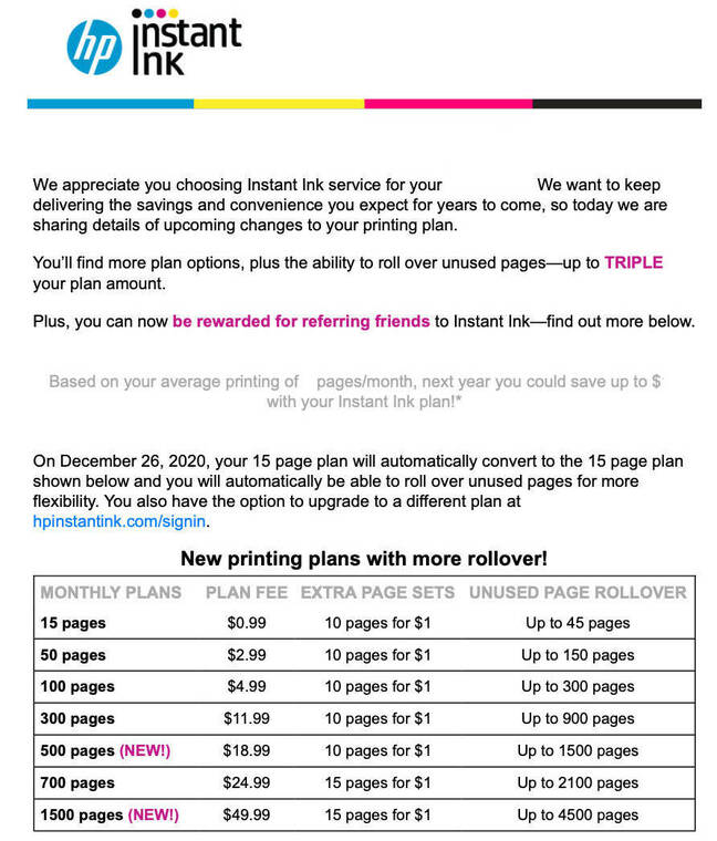 HP Instant Ink email announcement