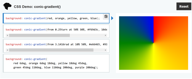 Firefox 83 supports conic gradients, a CSS feature for graphical effects