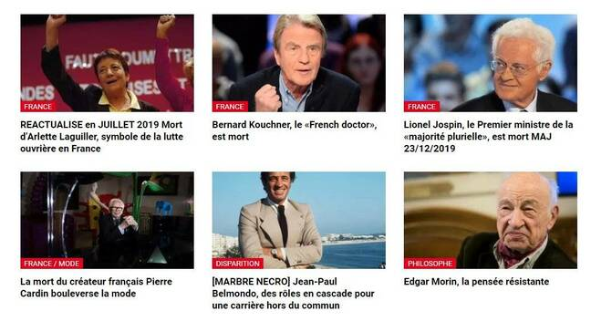 Screenshot of RFI accidentally published draft obituaries